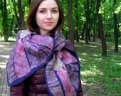 Wearable art nuno scarf, Fiber art, silk and wool, patchwork felt scarf, Navy blue, golden yellow, pink, red, OOAK nuno felt shawl