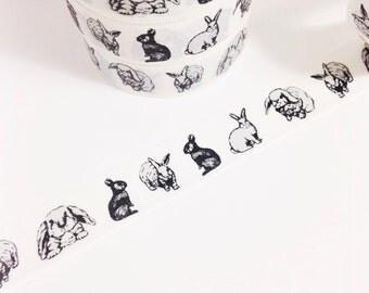 Black Grey White Bunnies Row Of Rabbits Washi Tape 11 yards 10 meters 15mm Animal Bunny Love Realistic Bunny