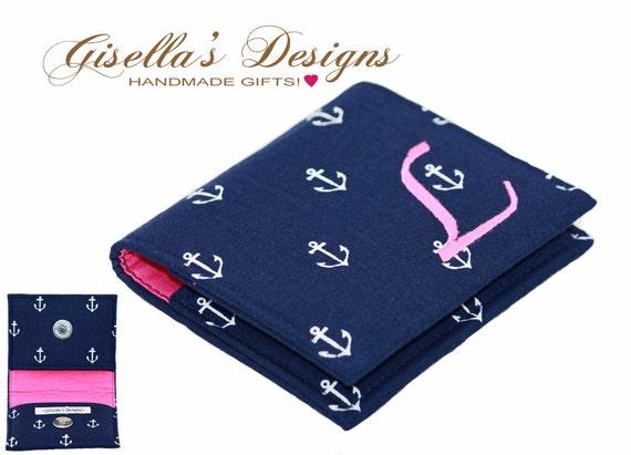 Nautical custom made personalized square business card holder for Custom square business cards
