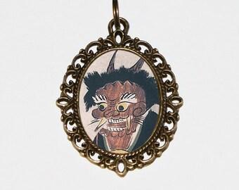 Otsu-e Demon Necklace, Japanese Woodblock Print, Kitagawa Utamaro, Edo Period, Ukiyo-e Jewelry, Oval Pendant
