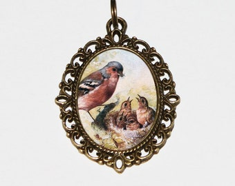 Mother Bird Necklace, Finch Jewelry, Finches, Bird Nest, Gift For Mom, Oval Pendant