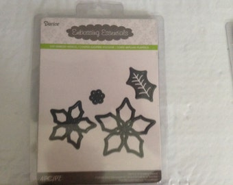 Assorted Poinsettia Flower Die Cut with Embossing Stencil by Darice