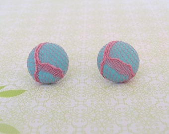 Pale Aqua and Pink Lace Earrings