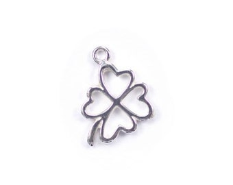925 Solid Sterling Silver 4 Leaf Clover Charm, Four Leaf Clover Pendant, Outline Connector, Amoracast, Amora Cast DIY Supplies, Findings