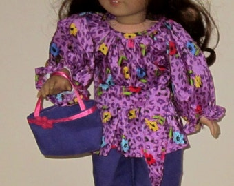 "Purple Floral Print Top With Pants Belt  and Purse 4 Piece Set Fits American Girl or Similar 18"" Doll"