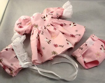 Bitty size Dress, Bonnet and Diaper in Hello Kitty Peace in Pink