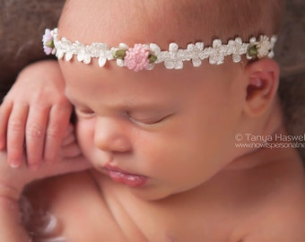 Newborn Halo Headband, Flower Headband, Newborn Headband, Halo Flower Headband