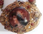 Antique Czech Glass Portrait Necklace