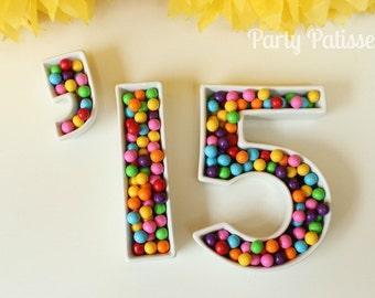 Ceramic Number Dishes, Graduation, Wedding, Birthday,Showers,Anniversaries,Parties,Reunions
