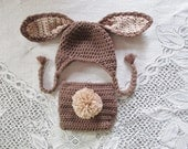 Medium Brown and Tan Easter Bunny Crochet Hat and Diaper Cover - Photo Prop - Available in Any Size or Color Combination
