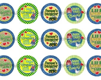 "1"" Farm Girl Farmers Daughter Bottle Cap Image Sheets Party Favors Cupcake Topper Magnet Stickers Printables Bottlecap Instant Download."