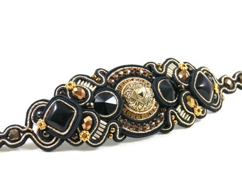 Soutache Cuff Bracelet Soutache Jewelry Statement Bracelet Black and Gold Cuff Bracelet Embroidered Bracelet Gift for her Christmas Gift
