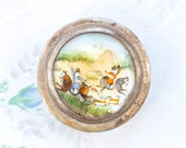Antique Snuff Box or Pill Box - Painted Mother of Pearl Lid