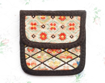 Tapestry Coin Purse - Embroidered Boho Wallet - Colorful Change Pouch