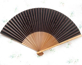 Vintage Small Paper Fan in Black and red