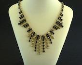Rhinestone Bib Necklace, Black Rhinestone Bib Necklace, Rhinestone Jewelry