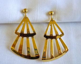 Vintage Fan Shaped Earrings, Dangle Earrings, Fan Jewelry