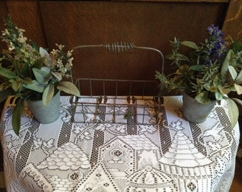 French Cottage Flower Rack Metal Basket Shabby Chic Metal Wire Planter Cottage Decor