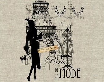 Paris de la Mode II. Instant Download Digital Image No.324 Iron-On Transfer to Fabric (burlap, linen) Paper Prints (cards, tags)
