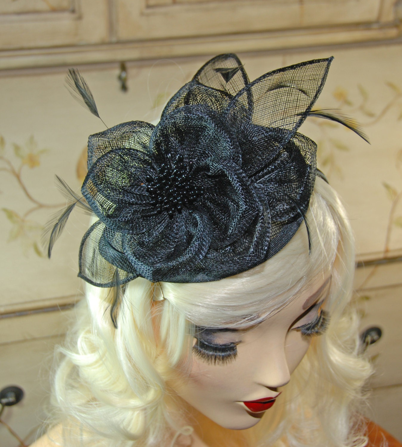 Black Fascinator British Fascinator Hat Tea Party Hat