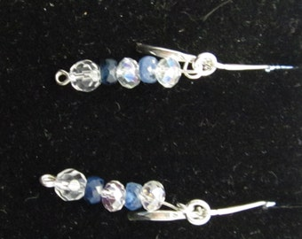 Earrings J Sapphire and Swarovski on sterling silver 6ct