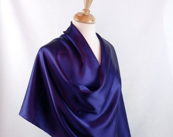 Silk Charmeuse Shawl, Wrap in Deep Purple Elegant Evening or Bridal Wrap or Large Scarf, Large 71 x 21""