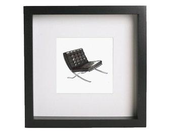 Barcelona Mid-Century Chair Print (Framed)
