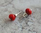 Red Stud Earrings.  Red Handmade Glass Beads