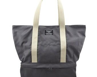 MEGA // Grey / Lined with Beige / 121 // Ship in 3 days // Beach bag / Diaper bag / Sport bag / Tote bag / Market bag /