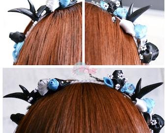 Turquoise/Black/Grey: Kanzashi Headband with Black Horns