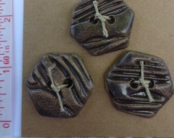 Extra Large Ceramic Clay brown handmade origianl Button