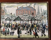 England Market Scene Embroidery