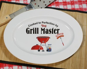 Personalized Grill Master Barbecue Platter, BBQ, gift for him, dad gift, father's day personalized, grill platter, grilling -gfyU353617