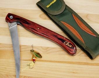 Engraved Fillet Knife [fillet knife, engraved item, engraved knife, folding knife, 440 stainless steel blade, fish, tacklebox]  -gfyL770380