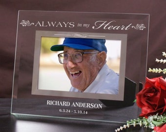 Memorial Engraved Glass Frame, memorial picture frame, memorial gift, rest in peace, glass picture frame, engraved frame -gfyG977771