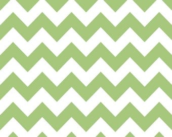 LAMINATED cotton fabric (similar to oilcloth) by the yard - Green Chevron - Approved for children's products -washable laminated fabric