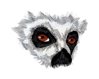 Ring Tailed Lemur Eyes Embroidered Flour Sack Hand/Dish Towel