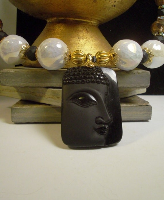 Black Stone carved Buddha necklace, Czech amber, elegant, classic, black white gold, white luster, magnetic clasp, Asian, Boho: Black Buddha
