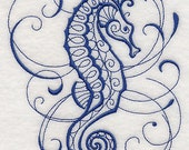 Intricate Sea Life Seahorse Embroidered Flour Sack Hand/Dish Towel