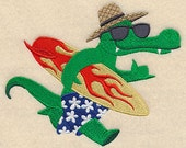 Alligator in Sunglasses Embroidered Flour Sack Hand/Dish Towel