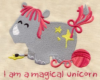 Magical Wannabe Rhinoceros Unicorn Embroidered Flour Sack Hand/Dish Towel