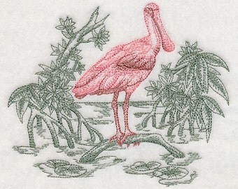 Spoonbill Embroidered Flour Sack Hand/Dish Towel
