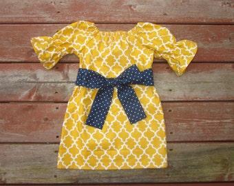 Girls Fall Mustard Yellow Lattice Print Peasant Dress with Navy Dot Sash 0 3 6 12 18 24 2T 3T 4T 5/6 7/8 9/10 11/12 Sibling Sister Dresses