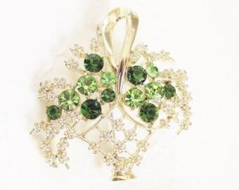 Vintage Coro Green Rhinestone Flower Basket Brooch signed