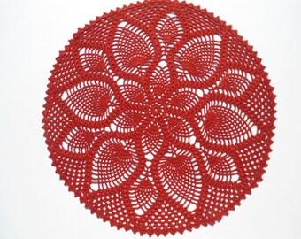 "Red crochet doily, pineapple crochet doilies, large lace doily, crochet centerpiece, christmas decoration 14 """