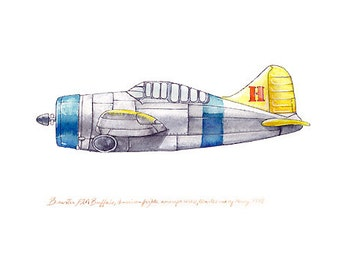 """Brewster F2A Buffalo vintage airplane watercolor print, 8""""x10"""""""