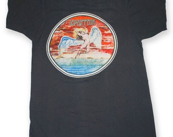 Vintage Led Zeppelin Shirt 1970s  Swan Song Very Rare 80s Rock Tshirt Rare