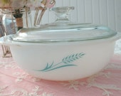 Promotional Pyrex Casserole- Blue Wheat with Lid Turquoise Pyrex