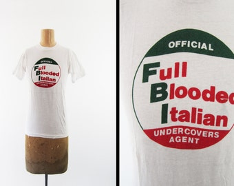 Vintage 70s Italy T-shirt Italian Heritage Full Blooded Italian NOS Deadstock - Small / XS