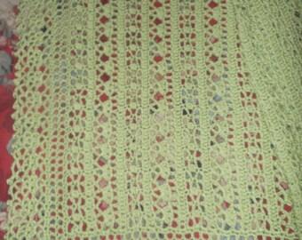 Crocheted Soft Fern (LIght Green) Baby Afghan (bk100)